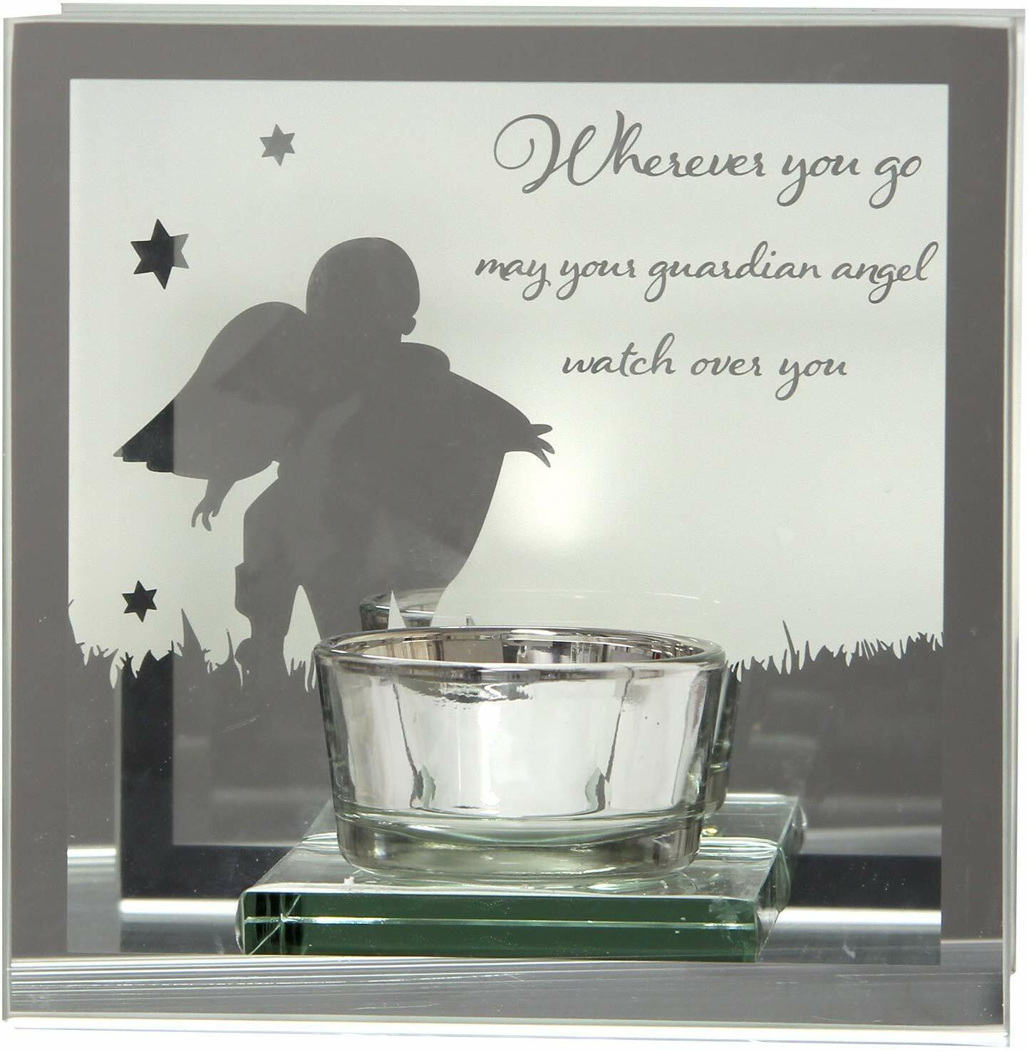 Glass Mirrored Guard Angel Tea Light Holder Plaque Ornament Christmas Gift New
