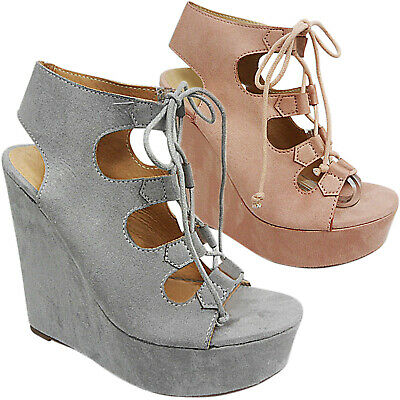 Womens Ladies High Open Toe Heel Wedge Platform Lace Up Sandals Shoes Size | eBay