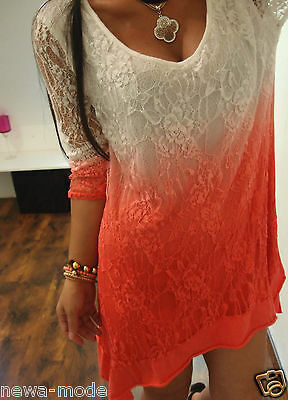 F07 NEU Long Shirt M L BLOGGER TREND Boho Italy Musthave TUNIKA SPITZE Chic 38
