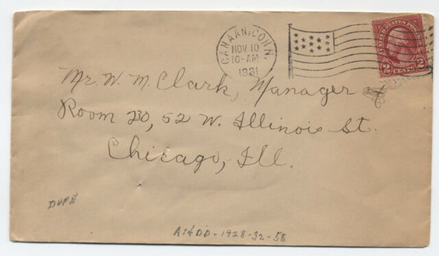 1931 Canaan CT American flag machine cancel cover scarce use 58 points  [3503]