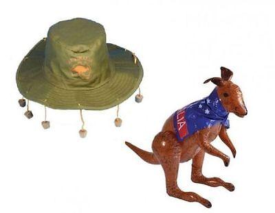 Adult Australian Hat with Corks /& 70cm Inflatable Kangaroo Set Fancy Dress Kit