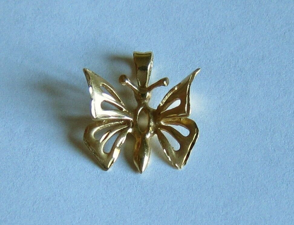 14k solid yellow gold BUTTERFLY pendant charm jewelry estate