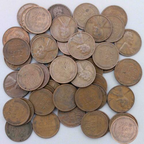 1942 D Lincoln Wheat Cent Roll 50 Circulated Pennies US Coins