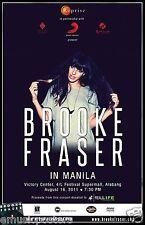 "BROOKE FRASER ""IN MANILA"" 2011 PHILIPPINES CONCERT TOUR POSTER - Pop Music"