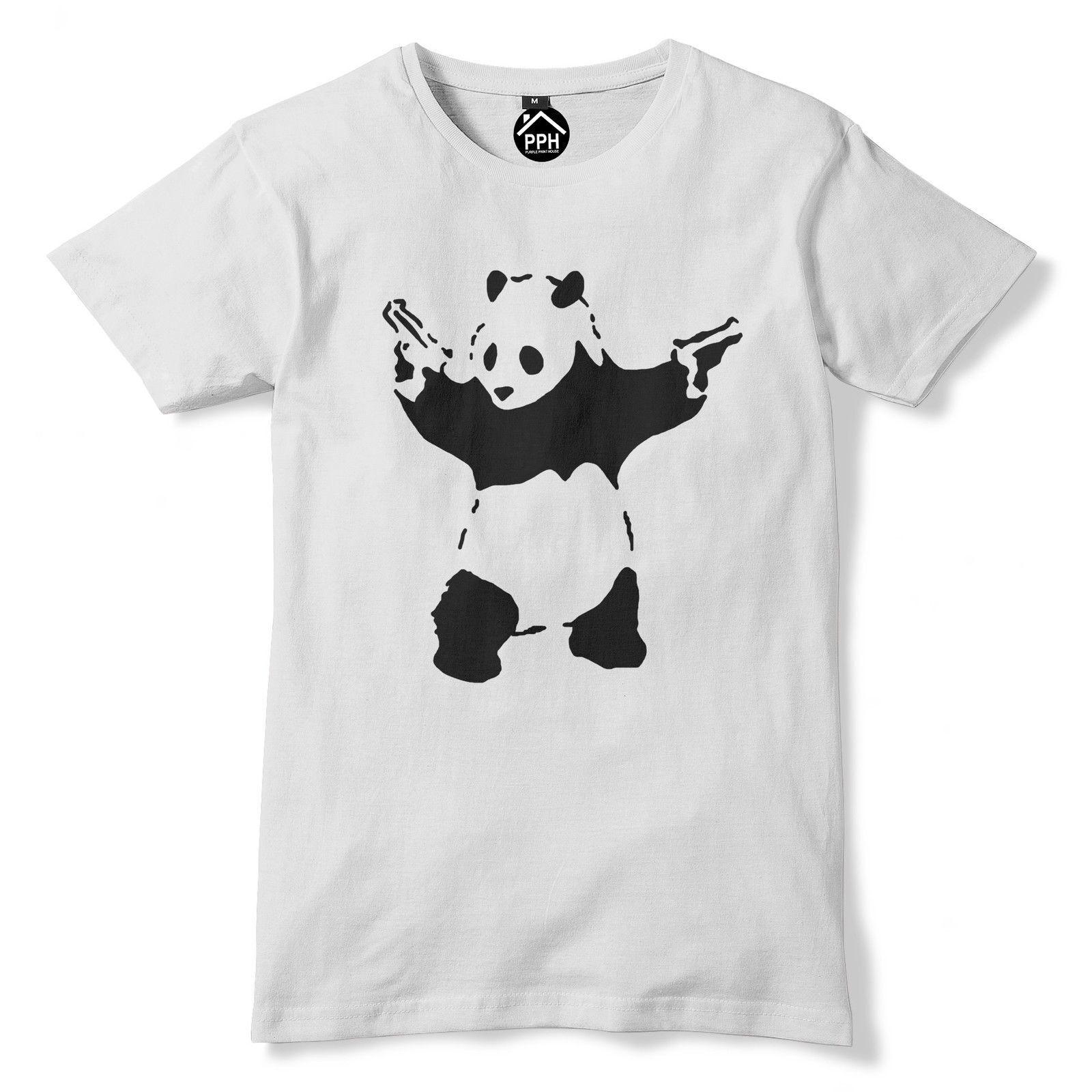 81017512 Banksy Panda Pistols T Shirt Graffiti Art Tshirt Mens Womens Gift Top 63  Fashion Style Men Tee 2019 fashion t shirt