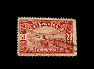 Vintage-Stamp-CANADA-20-CENT-WHEAT-HARVESTING-1929-Red-157-Used