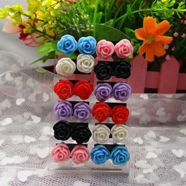 Chic Cheap Nickel Earring 12 Pairs Mixed Color Resin Rose Flower Ear Stud