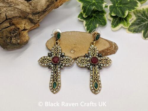 Stunning Dark Gold Gothic Cross Crucifix Earrings Diamante /& Red /& Green Crystal