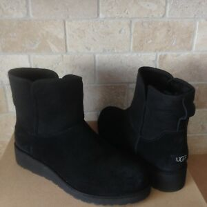 ec8d55f6e11 Details about UGG KRISTIN CLASSIC SLIM BLACK SHEEPSKIN WEDGE ANKLE BOOTS  SIZE US 12 WOMENS