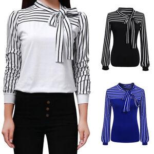 80972b41de5 Fashion Women Tie-Bow Neck Striped Long Sleeve Splicing Autumn Shirt ...