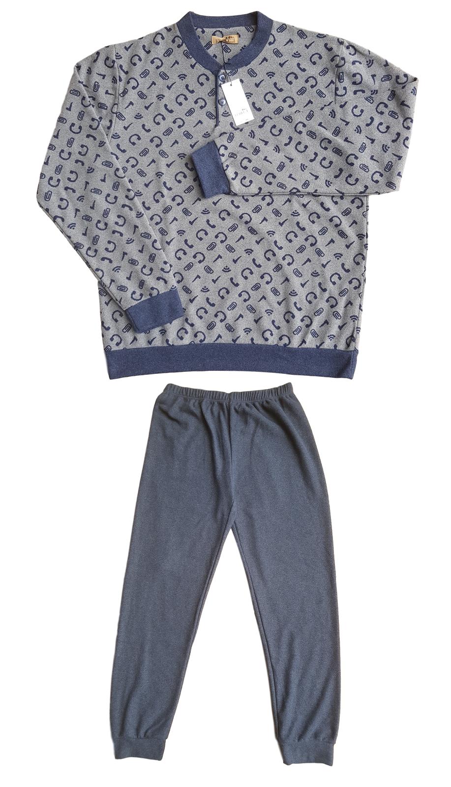 Herren Pyjamas Winter aus Baumwolle Plüsch FERRUCCI Mod. Melone 3606 MONACO S 2