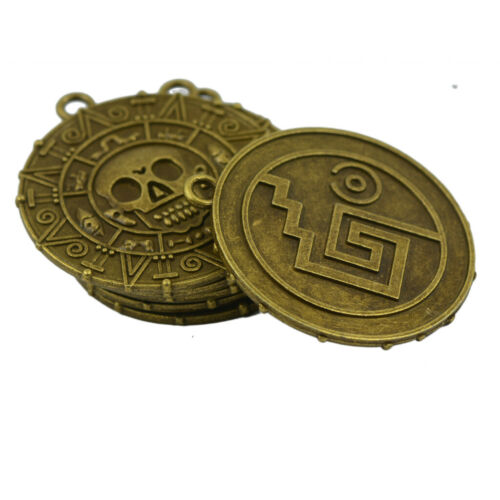 6x Halloween Piraten Aztec Münzen Medaillon Schädel Charms Anhänger Bronze