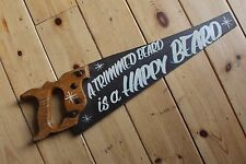 "Saucy Saw Sign ""Trimmed Beard-Happy Beard"" Plaque Barber Shop VW Man Cave"
