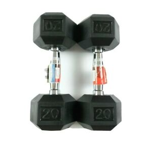 NEW-Weider-20lb-Dumbbells-Pair-Rubber-Coated-Hex-Set-40lb-Total-Free-Shipping