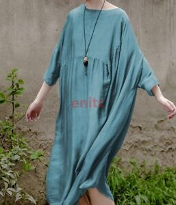 b0dceee643 Image is loading Womens-Cewneck-Loose-Caftan-Lagenlook-Maxi-Mulberry-Silk-