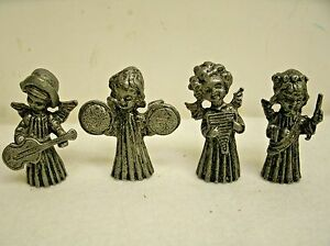 """VINTAGE VERNON PEWTER FIGURINES MUSCIAL ANGELS SET OF 4 - 1.75"""""""