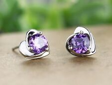 Cristal púrpura de tono plateado en forma de corazón