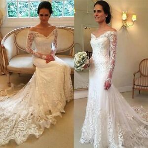 Elegant Lace Mermaid Wedding Dress White/Ivory Long Sleeve Bridal ...