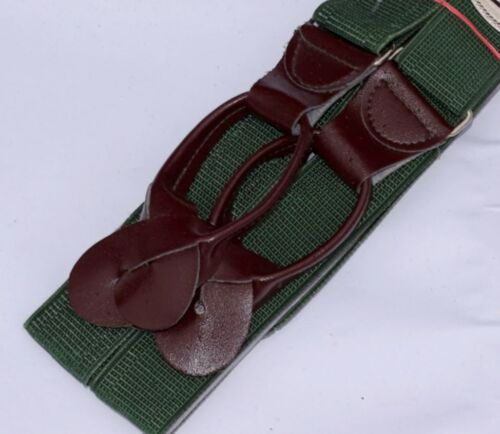 Ex-Army Elastic Braces With Leather Ends Adjustable Suspenders New Vintage Retro