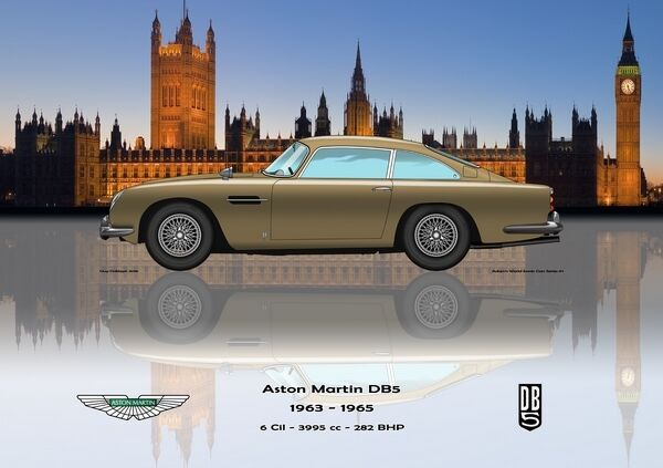 impression on toile Aston Martin DB5 1963 - 1965 or   Westminster Version 80 x 60