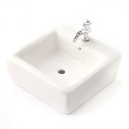 Dollhouse Miniature White Square Sink Top for Kitchen or Bathroom Ceramic 1:12