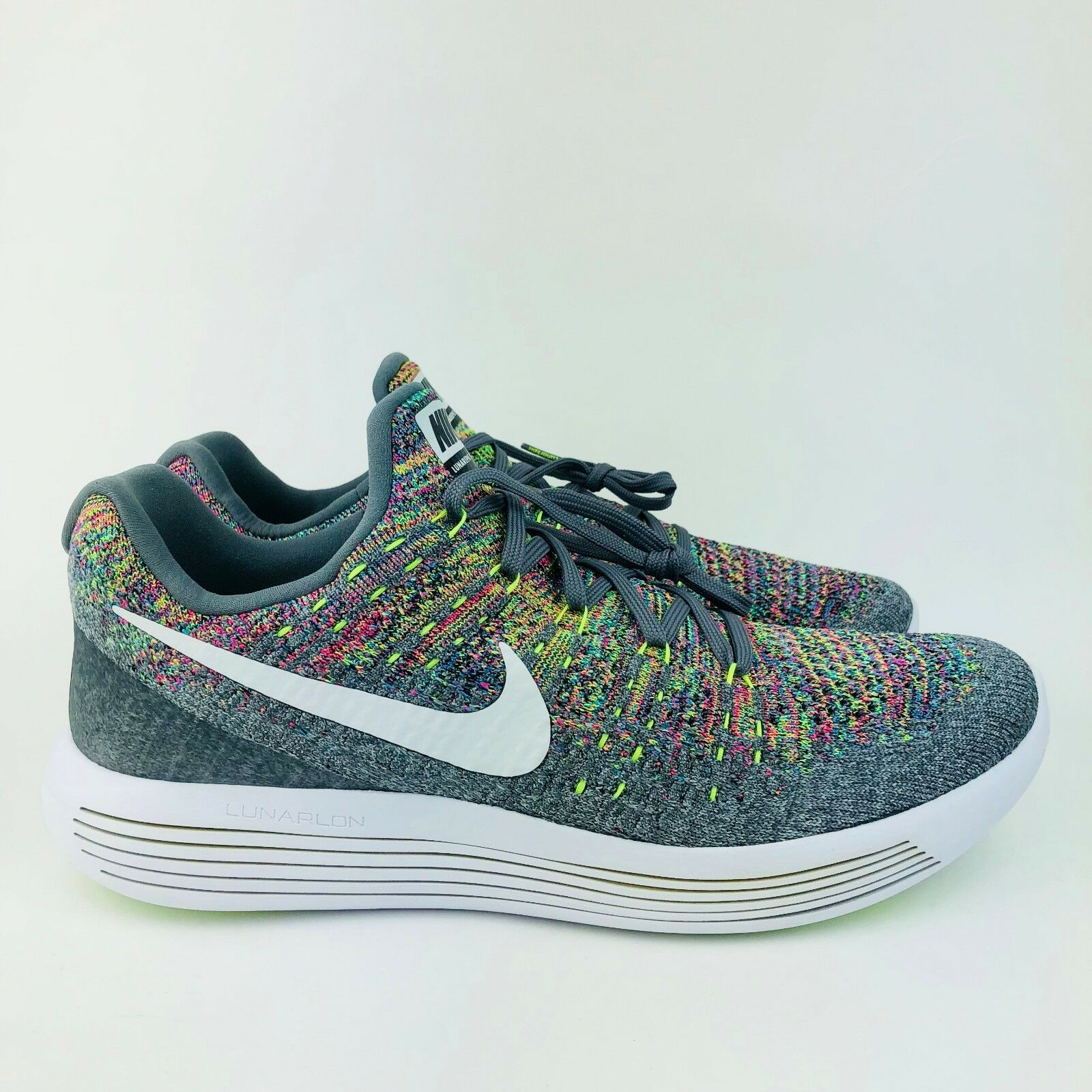 537baead095f Nike Lunarepic Low Low Low Flyknit 2 Mens Running Shoes Grey Multi Color Sz  863779-