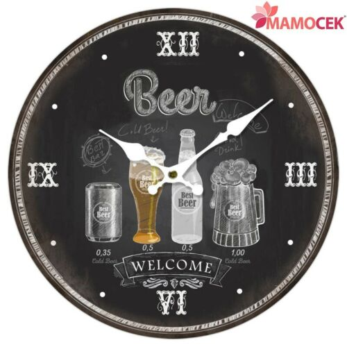Wall Clock Wood Wall Beer Beer cm.34 Furniture Kitchen Bar Pub Black Shabby