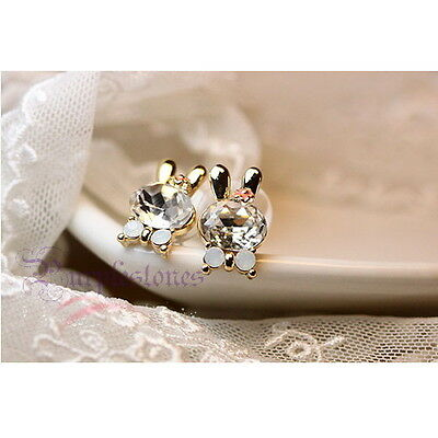 1 Pair Sweet Cute Crystal Rhinestone Bunny Rabbit Flower Ear Stud Drop Earrings