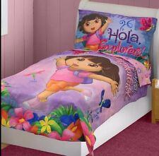 4pc DORA EXPLORER TODDLER BEDDING SET - Hola Explorers Jungle Comforter Sheets