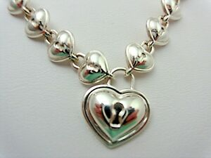 Tiffany-amp-Co-Padlock-Lock-Heart-Charm-Link-Necklace-Sterling-Silver-RARE-Pouch