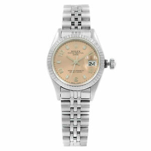 Rolex-Date-69174-Salmon-Dial-1995-Fluted-White-Gold-Steel-Automatic-Ladies-Watch