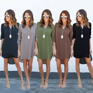 Womens-Chiffon-Blouse-Long-Sleeve-Ladies-T-Shirt-Casual-Loose-Short-Dress-Tops