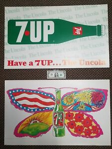 RARE-PSYCHEDELIC-WOODSTOCK-ERA-7UP-BUTTERFLY-amp-BOTTLE-1969-2-sided-PAT-DYPOLD