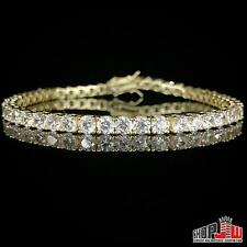 ".925 Silver 4mm 1 Row 8.00"" Simulated Diamond Bracelet Mens Ladies Tennis Iced"