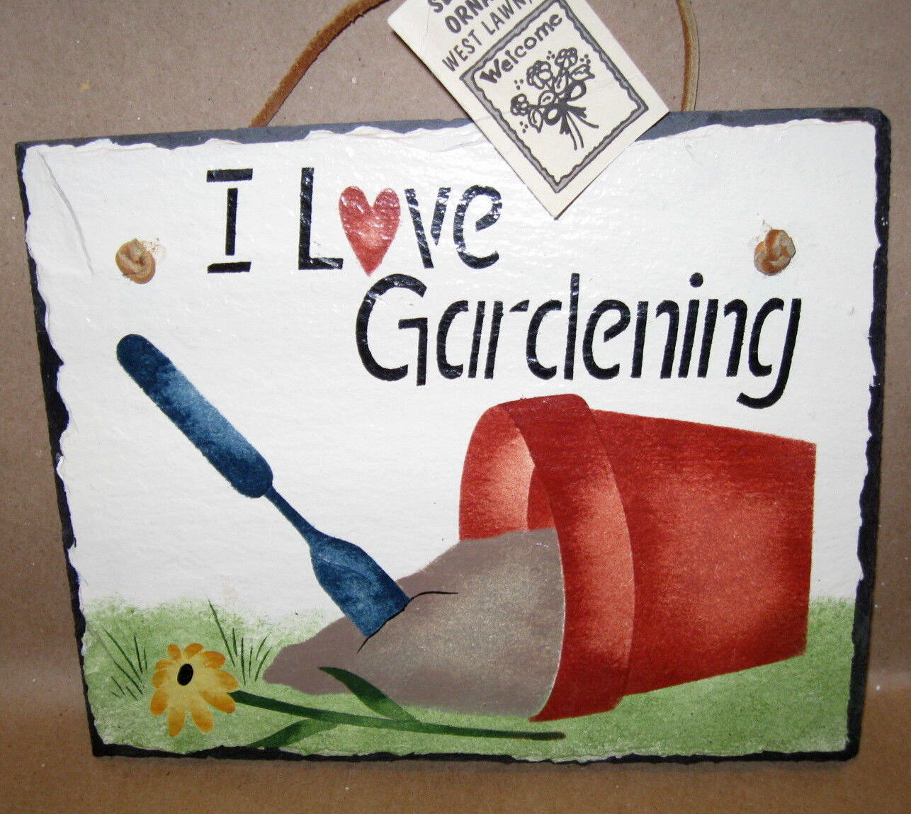 I LOVE GARDENING SLATE SIGN Hanging In/Outdoor Hand Stenciled 10