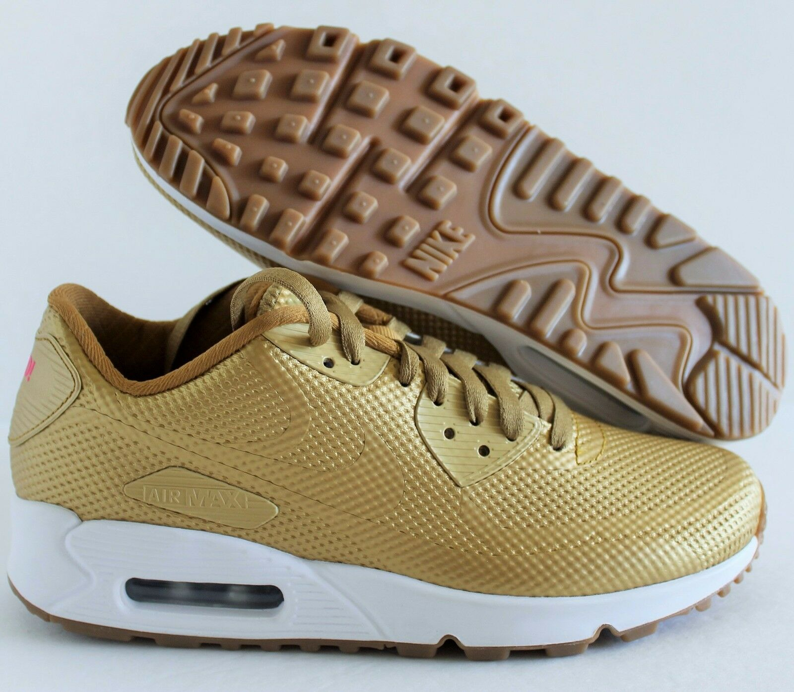 NIKE WOMEN AIR MAX 90 HYPERFUSE PREMIUM iD gold-WHITE SZ 6.5 [822578-997]