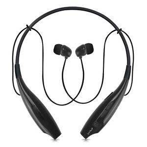 Black HV-800 Bluetooth Wireless Sport Neckband Stereo Headset for Samsung LG