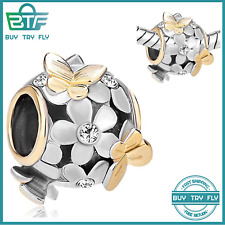 """New Auth 925 Sterling Silver Charm Bead fits Bracelets  /""""Birthstone Blossom/"""""""