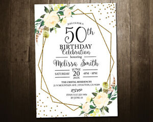 Floral Birthday Invitation // Any Age 90th Invitation 80th 70th 60th
