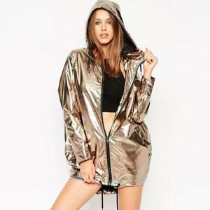 Womens-Ladies-Metallic-Rain-Mac-Waterproof-Raincoat-Hooded-Jacket-Size-8-16