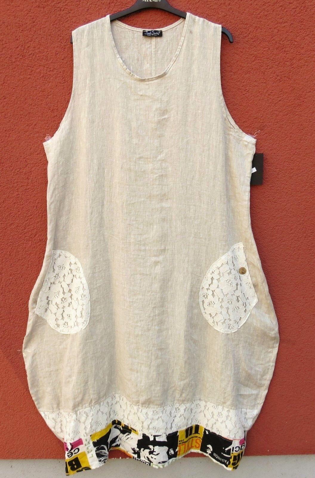 SARAH SANTOS langes Sommerkleid Leinen Kleid Linen Dress XXL 52 54 Lagenlook