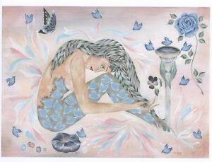 MERMAID BLUEBIRD ROSE MORNING GLORY PANSY DOLPHIN BUTTERFLY HAND SIGNED PRINT