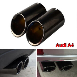 Audi-75mm-Black-Stainless-Steel-Exhaust-Tail-Muffler-Tip-Pipe-For-A4-B8-Q5