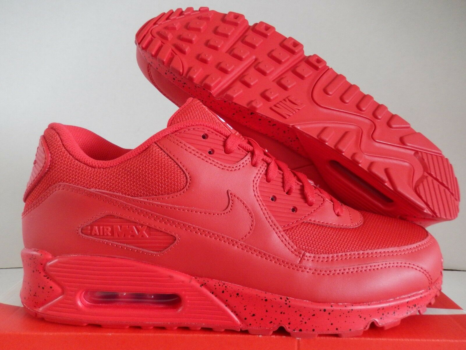 NIKE AIR MAX 90 ID ALL RED SZ 12 RED OCTOBER MESH TOE [931902-994]