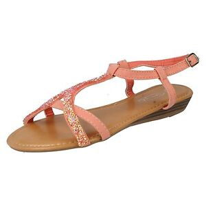 8881c6b10e35 Details about SALE LADIES SPOT ON LOW WEDGE HEEL ANKLE STRAP GLITTER SUMMER  SANDALS F10240