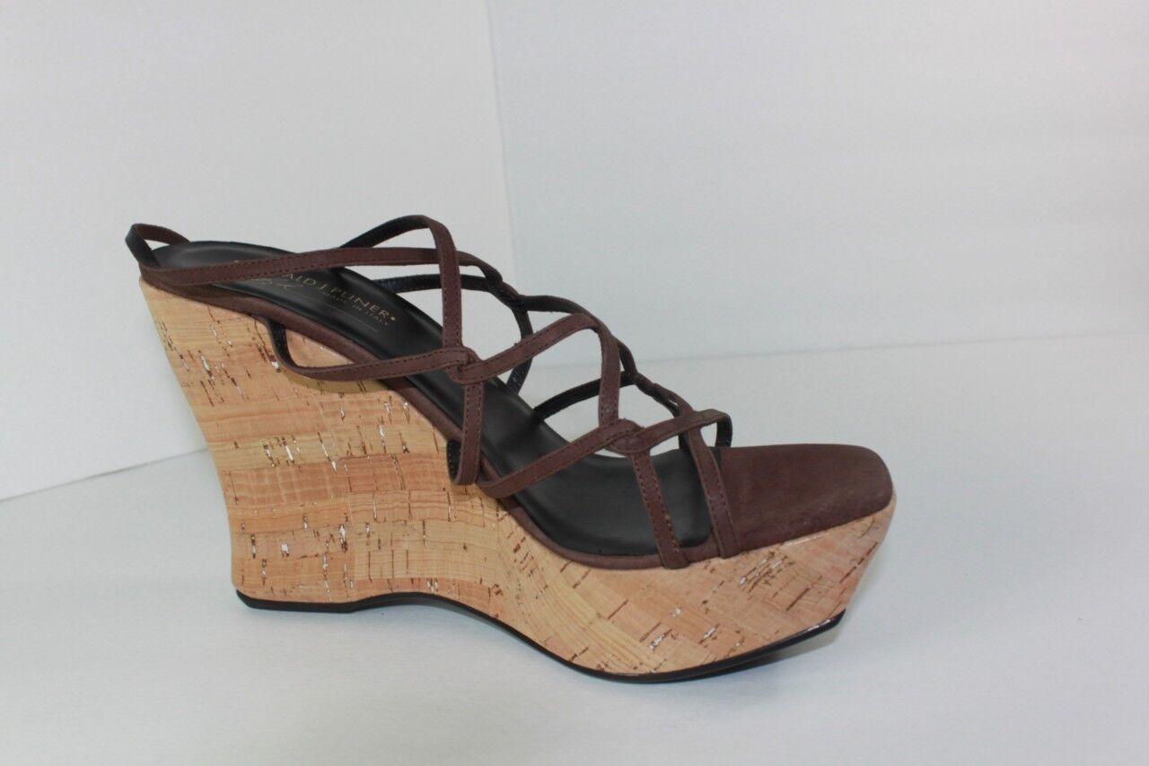 Donald J Pliner Femme Taille 10 m en Cuir Marron Talon Compensé Plateforme Sandale Chaussure