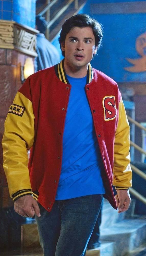 Smallville Crows Superman Clark Kent Varsity Bomber Letterman Wool Jacket