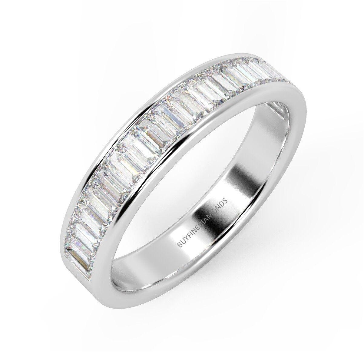 0.75 Ct Baguette Diamond Channel Set Half Eternity Ring, UK Hallmarked Platinum