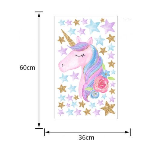 Fairy Unicorn Star Heart Wall Stickers Removable Baby Kids Nursery Room Decor