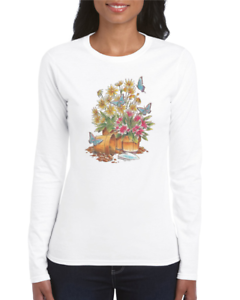 Gildan-Crewneck-Sweatshirt-Country-Flower-Shirt-Butterflies-Flowers-Butterfly